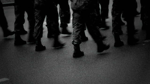 Marching soldiers on the street. video