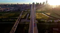 Margaret Hunt Hill Bridge spanning across the Trinity River in Dallas Texas During Sunirse sun burst morning video