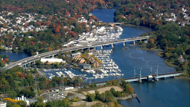Marinas In Cos Cob Harbour  - Aerial View - Connecticut,  Fairfield County,  United States video