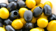 Marinated black and green olives video