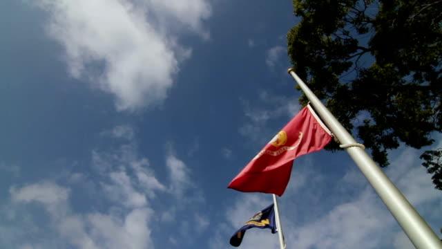 U.S. Marine Flag Flying at Half-Mast in Slow Motion video