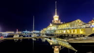 Marine station in Sochi timelapse hyperlapse at night video