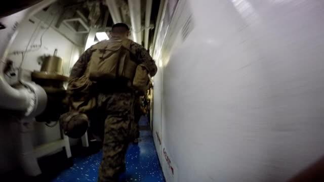 Marine Walking In Ship video