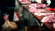 Market butchers in China video