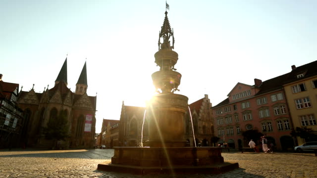 Market place with fountain and church in Braunschweig video