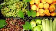 DOLLY: Market stall with fresh fruits and vegetables video