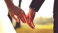 Marry Me Today And Everyday. Newlywed Couple Holding Hands, Shot In Slow Motion video