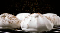 Marshmallow sprinkled with cocoa powder. Slow motion video