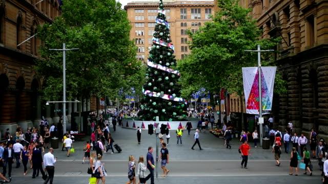 Martin Place Sydney Christmas Crowds video