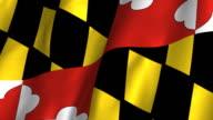 Maryland State Flag - waving, looping video