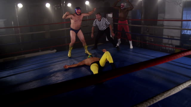 Masked wrestlers celebrate victory video