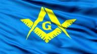 Masonic flag Of Freemasonry waving in the wind. video