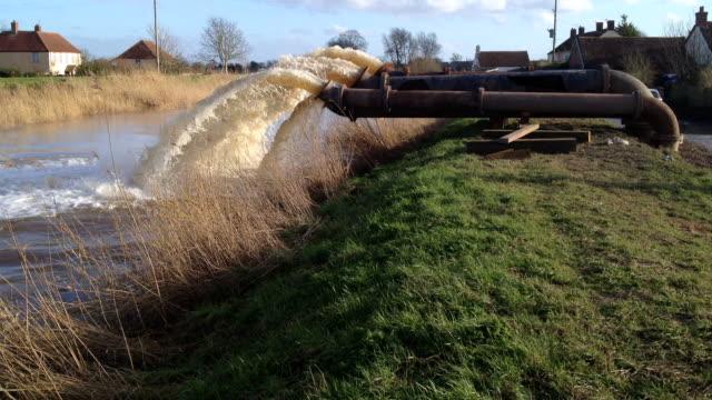 Massive flood pumps working in Somerset UK video