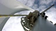HD: Mast With Jib Sail In The Wind video