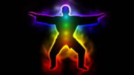 Master with aura and chakras - tai chi, aikido, karate video