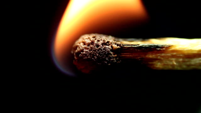 match burn close up video