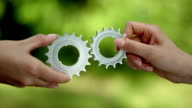 Matching cog gears. Business teamwork video