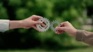Matching cog gears. Teamwork metaphor video