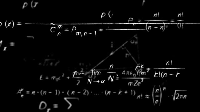 math physics formulas black and white loopable video