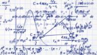 math physics formulas on squared paper loop video