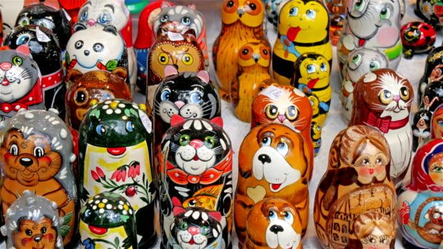 Matryoshka dolls with animal prints video