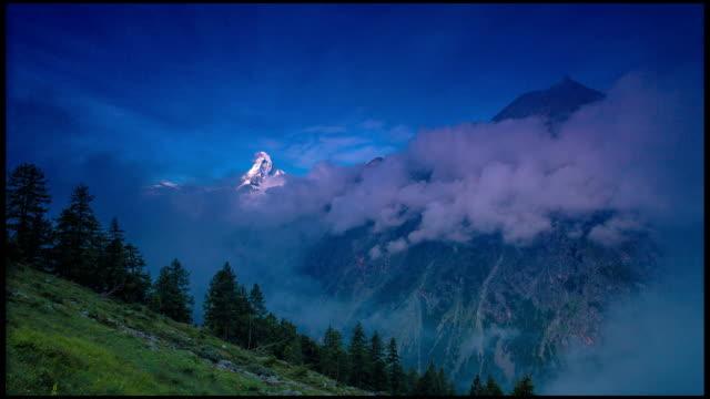 Matterhorn Mountain and Zermatt valley Time lapse video
