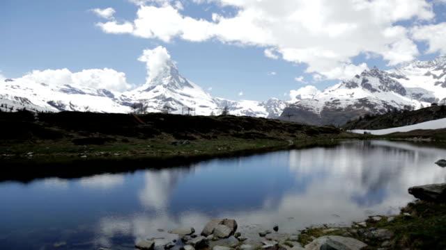 Matterhorn reflecting on a lake, Zermatt, Switzerland video
