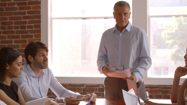 Mature Businessman Standing To Address Boardroom Meeting video