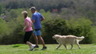 Mature Couple With Dog Jogging In Countryside Shot On R3D video