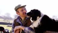 Mature Farmer and His Sheepdog video