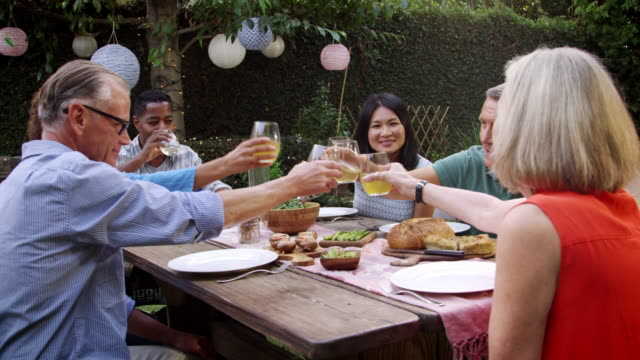 Mature Friends Enjoying Outdoor Meal In Backyard Shot On R3D video