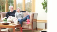 Mature male and female talking on sofa video