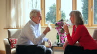 Mature male and female toasting living room video