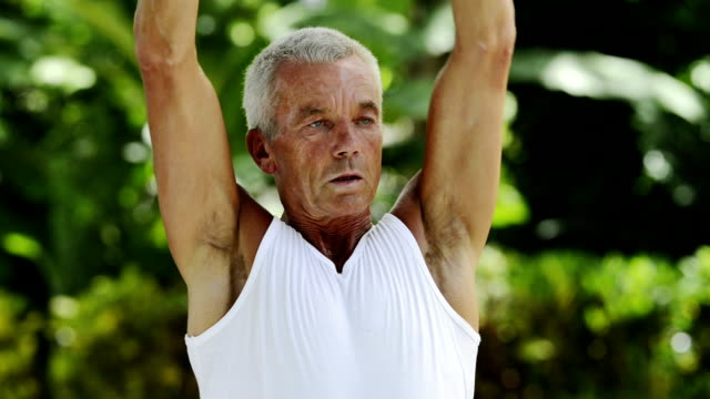 Mature man working out video