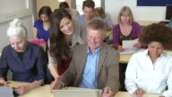 Mature Students In Further Education Class With Teacher video