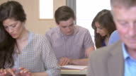 Mature Students Working In Further Education Class video