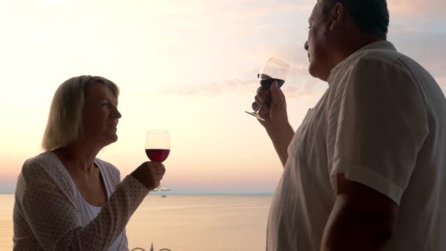 Mature sweethearts enjoying sea view and wine video