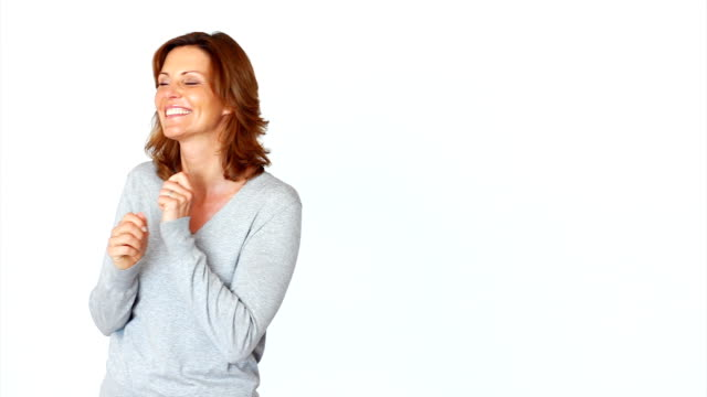 Mature woman expressing positivity video