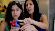 Mature woman teaching preteen daughter during home school science class video