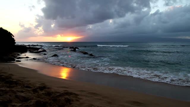 Maui Hawaii Beach Sunset Super Wide video