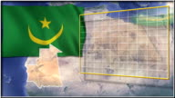 Mauritania flag and map animation video