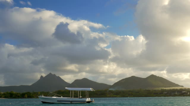 Mauritius landscape with mountains, view from sailing boat video