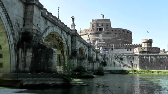 Mausoleum of Hadrian, Castle of the Holy Angel, Tiber River and Bridge, Rome, Italy video