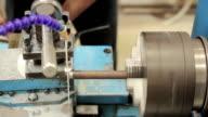 Measuring metal on lathe machine video