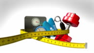 Measuring tape wrapped around Fitness, exercise equipment , Diet concept animation video