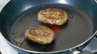 Meat cutlets are fried in pan video