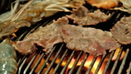 meat flame broiled on a barbecue video