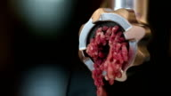 Meat grinder closeup, preparation of forcemeat at home. video
