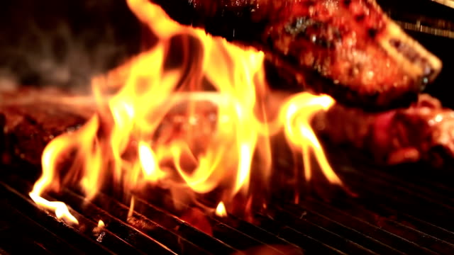 Meat on Barbecue Grill video