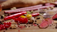 FEW SHOTS! Meat products. Assortment of meats, variety of smoked meats. on a wooden board. video